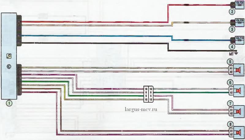 схема подключения аудиоколонок